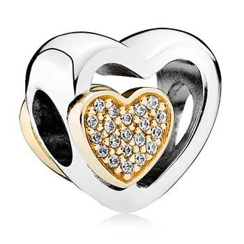 PANDORA Joined Together with 14K and Clear CZ Charm