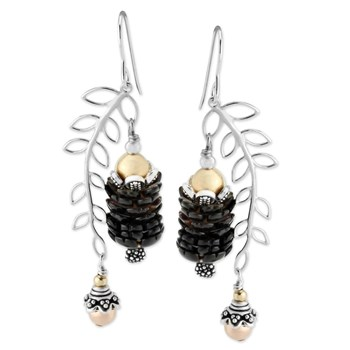Black Mother of Pearl Leaf Earrings-343135