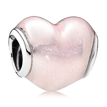 PANDORA Glittering Heart with Soft Pink Enamel Charm