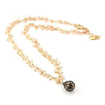 Black Pearl & Rose Quartz Necklace-347626