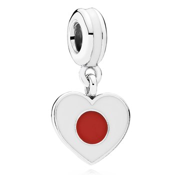 802-3022-PANDORA Japan Heart Flag with Enamel Dangle