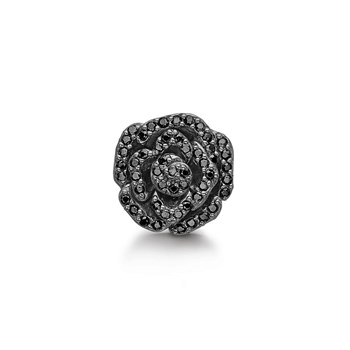 STORY by Kranz & Ziegler Black Rhodium Crystal Rose Button