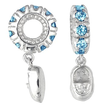 265508-Storywheels Swiss Blue Topaz & Diamond Baby Shoe Dangle 14K White Gold Wheel ONLY 2 AVAILABLE!