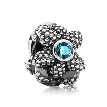 343455-PANDORA Sea Star with Synthetic Turquoise Spinel Charm