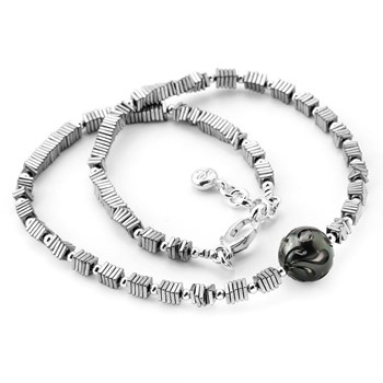 Hematite & Black Pearl Necklace-349343