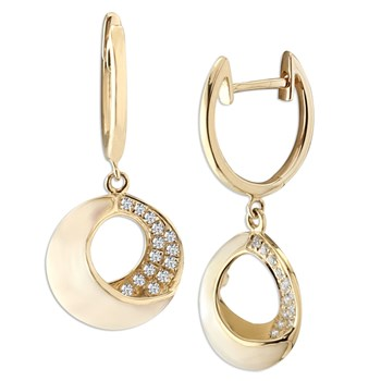 White Venus Cresent Earrings-348299