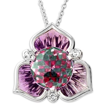 Galatea DavinChi Cut Amethyst & White Gold Necklace-340557