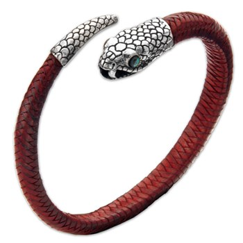 337031-Red Leather Snake Unisex Bracelet