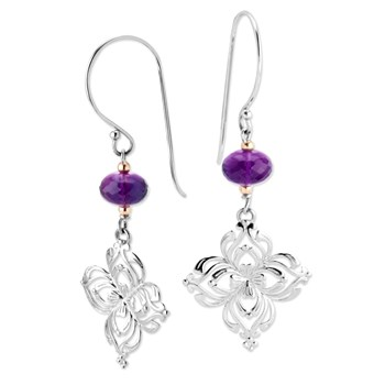 343757-Silver Flower & Amethyst Earrings