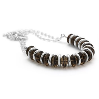 Smokey Quartz & Sterling Silver Necklace-235-591