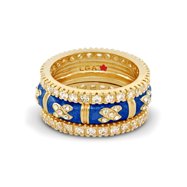 342434-Blue 'X Design' Ring Set