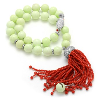 Lemon Chrysoprase & Coral Tassel Necklace-235-583