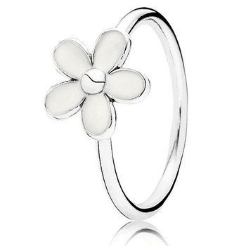PANDORA Darling Daisy with White Enamel Stackable Ring