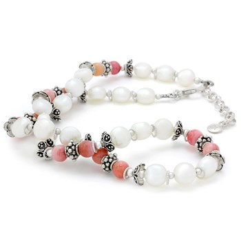 Pink Peruvian Opal & White Pearl Necklace-325-241
