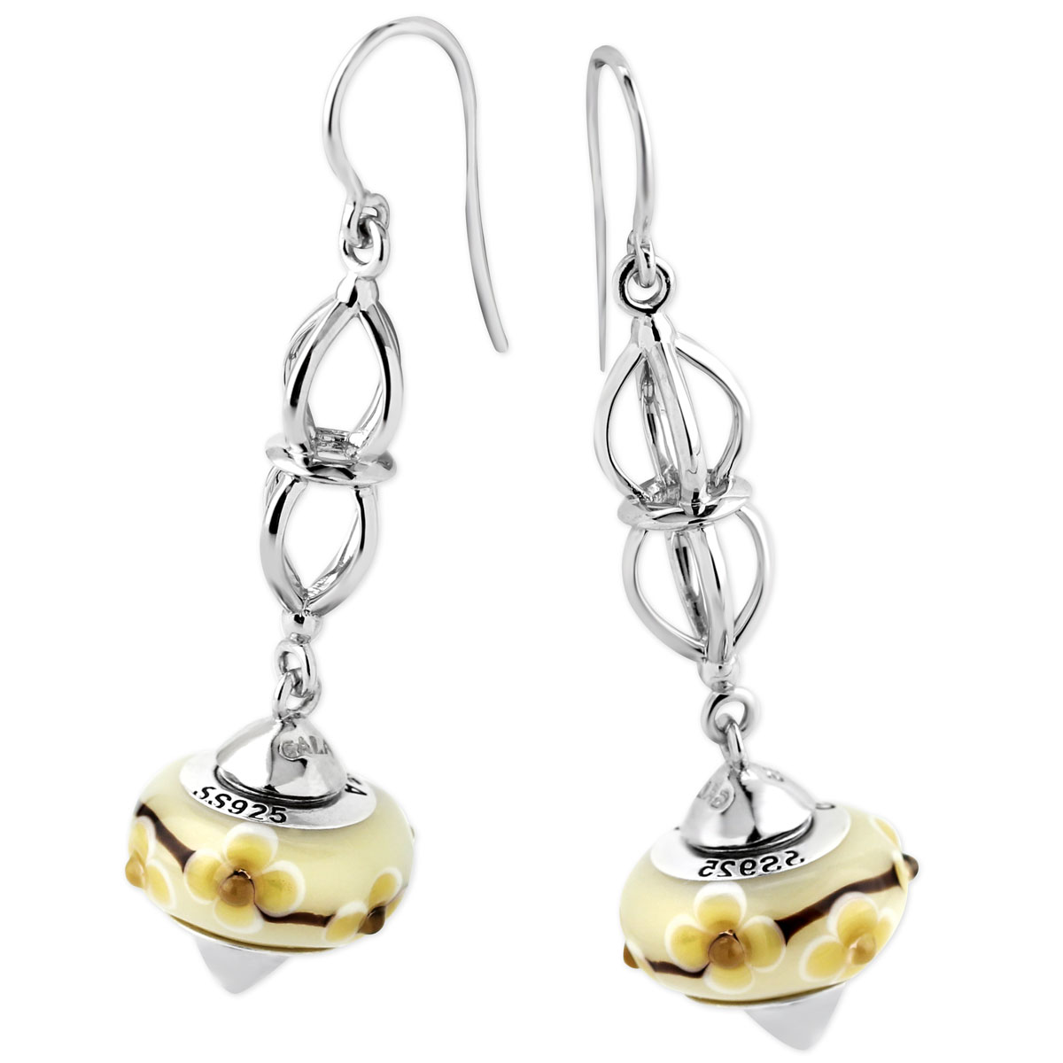 342109-Galatea Interchangeable Earrings with Yellow Flower Beads