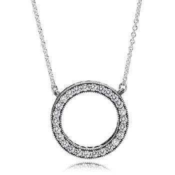 801-711-PANDORA Hearts of PANDORA with Clear CZ Necklace