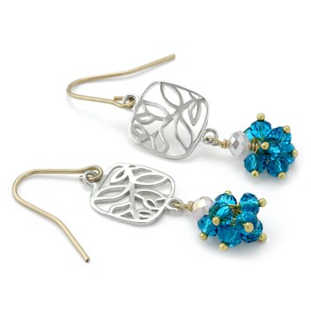 Blue Quartz Leaf Earrings-210-663