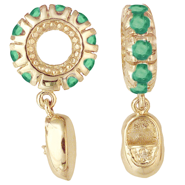 265157-Storywheels Emerald & Diamond Baby Shoe Dangle 14K Gold Wheel ONLY 1 AVAILABLE!