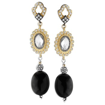 349294-White Topaz & Onyx Earrings