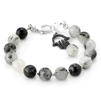 Lollies Black Rutilated Quartz Hamsa Bracelet 346064