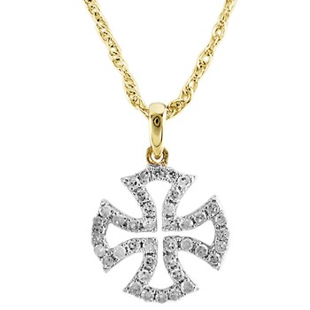 Diamond Maltese Cross Pendant-230-170