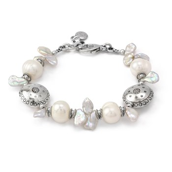 Keshi Pearl and Textured Sterling Silver Bracelet