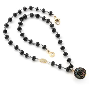 Diamond & Black Pearl Necklace-349231