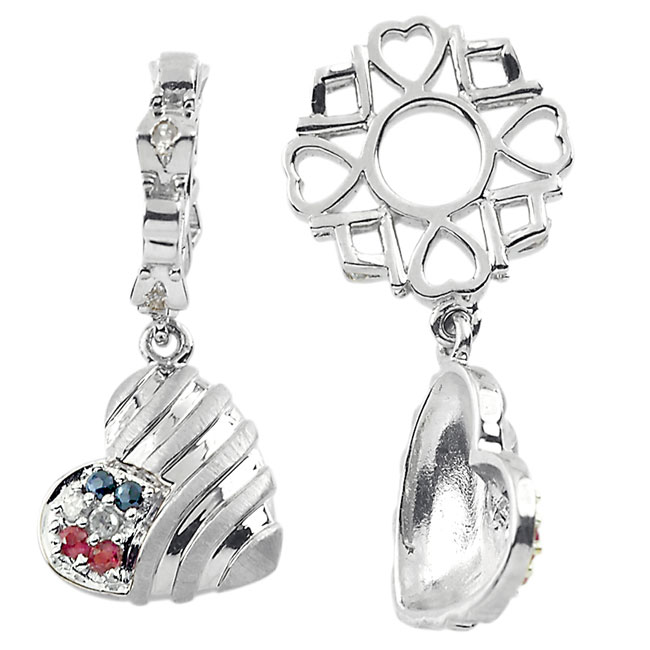 336907-Storywheels Multi Stone Patriotic Heart Dangle Sterling Silver Wheel