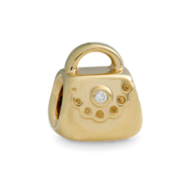 224642-PANDORA 14K Purse with Diamond Charm RETIRED ONLY 1 LEFT!