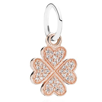 348248-PANDORA Symbol of Lucky in Love Shamrock Rose Gold with Clear CZ Pendant RETIRED