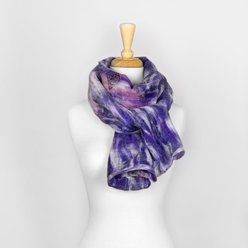 Purple Abstract Nuno Felted Scarf