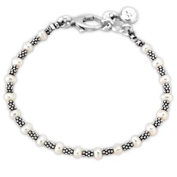 341882-White Pearl and Oxidized Sterling Silver Bracelet