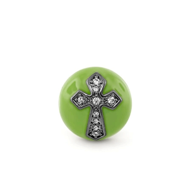 342669-Green 'Endless Kisses' Cross Charm