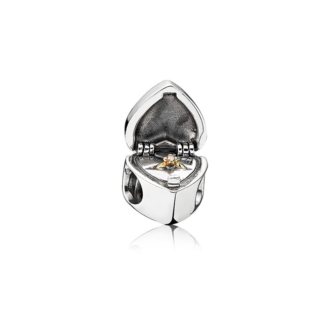 345480-PANDORA Gift From the Heart with 14K  and Clear CZ Charm