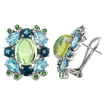 Limon Quartz, Topaz & Tsavorite Earrings-341987