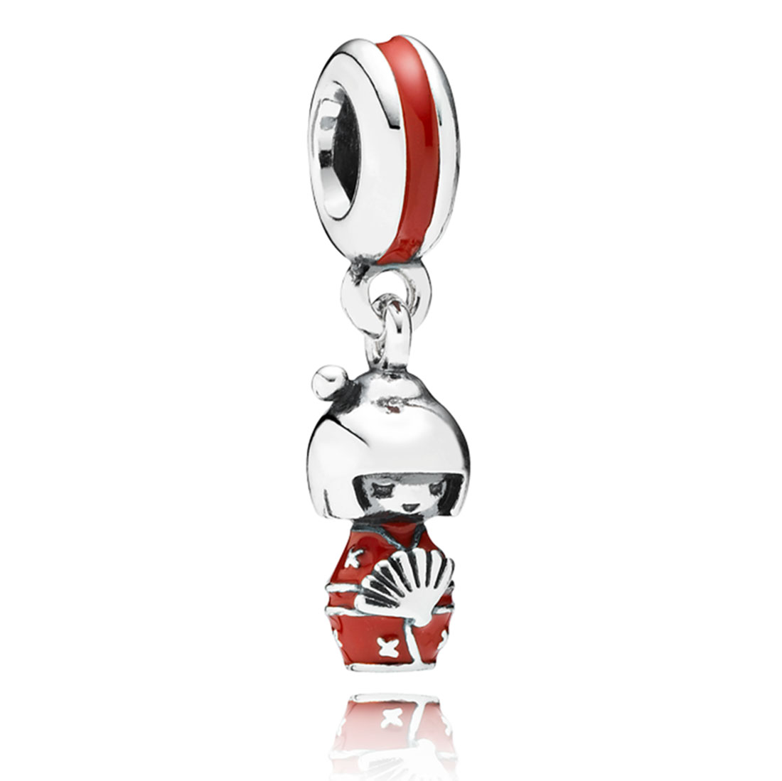 347999-PANDORA Japanese Doll with Red Enamel Dangle