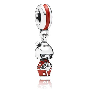 PANDORA Japanese Doll with Red Enamel Dangle-347999