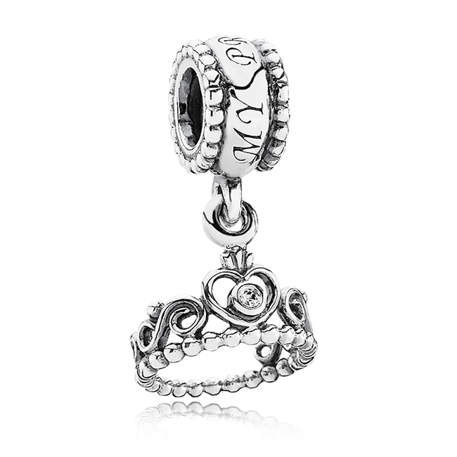 342925-PANDORA My Princess Crown with Clear CZ Dangle