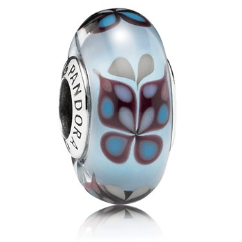 346389-PANDORA Blue Butterfly Kisses Murano Glass