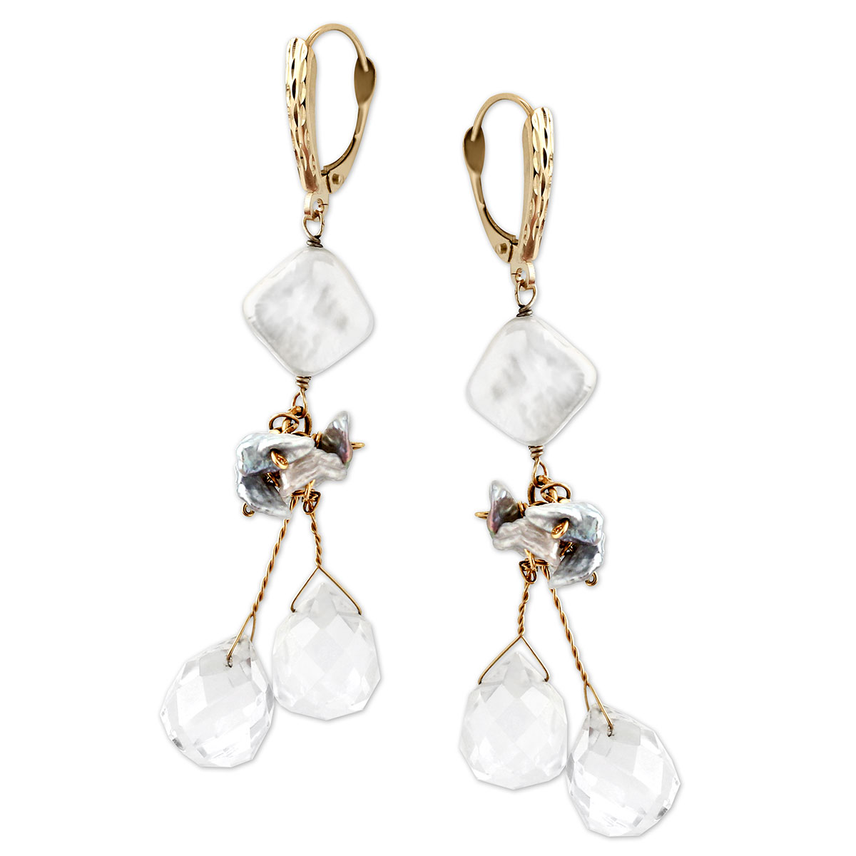212489-White Topaz & Keishi Pearl Earrings