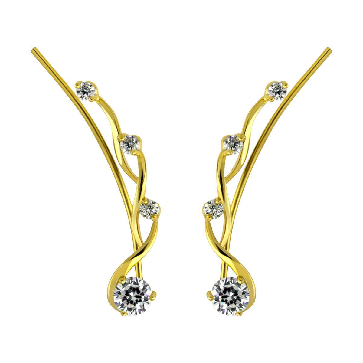 Twisted CZ Gold Ear Climber