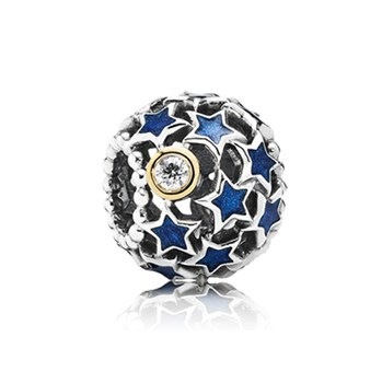 PANDORA Night Sky with Blue Enamel and Clear CZ Openwork Charm-348162