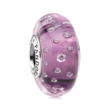 344244-PANDORA Purple Effervescence with Clear CZ Murano Glass
