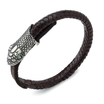 Brown Leather Snake Head Unisex Bracelet-700-167