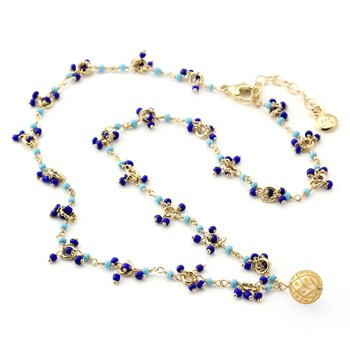 Golden Pearl Turquoise & Lapis Necklace-348939