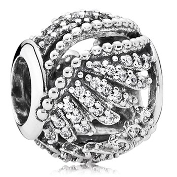 802-3093-PANDORA Majestic Feathers with Clear CZ Openwork Charm
