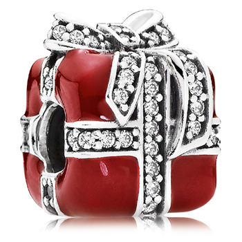 PANDORA Sparkling Surprise Present with Red Enamel & Clear CZ Charm RETIRED 802-3135