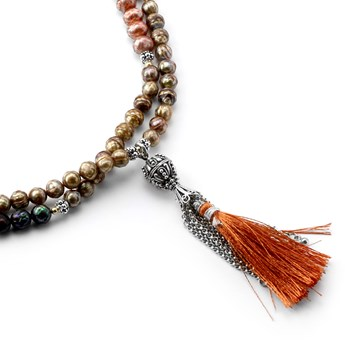 Faceted Pearl Tassel Necklace-801-672