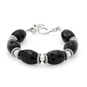 240-3249- Faceted Onyx Bracelet