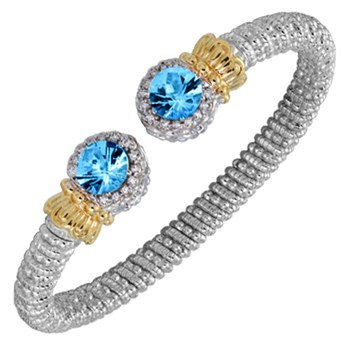 Blue Topaz Tip Diamond Bracelet-338599